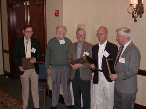 2002 Awardees (from left): Jack Downs, Wade Berry, Ted Tibbitts, Bob Langhans, and Don Krizek